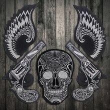 Venda legal asa armas crânio ferro em remendos bordado motociclista adesivos roupas jaqueta bordado motocicleta mochila remendos