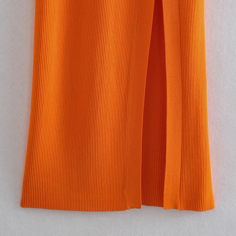 Dress Za fashion simple stretch tight V-neck hollow women dress 2021 summer new style 100% cotton chic street party Dress women 6
