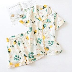 Image 3 - Calções de verão pijamas femininos conjuntos 100% gaze algodão japonês bonito dos desenhos animados simples manga curta shorts sleepwear