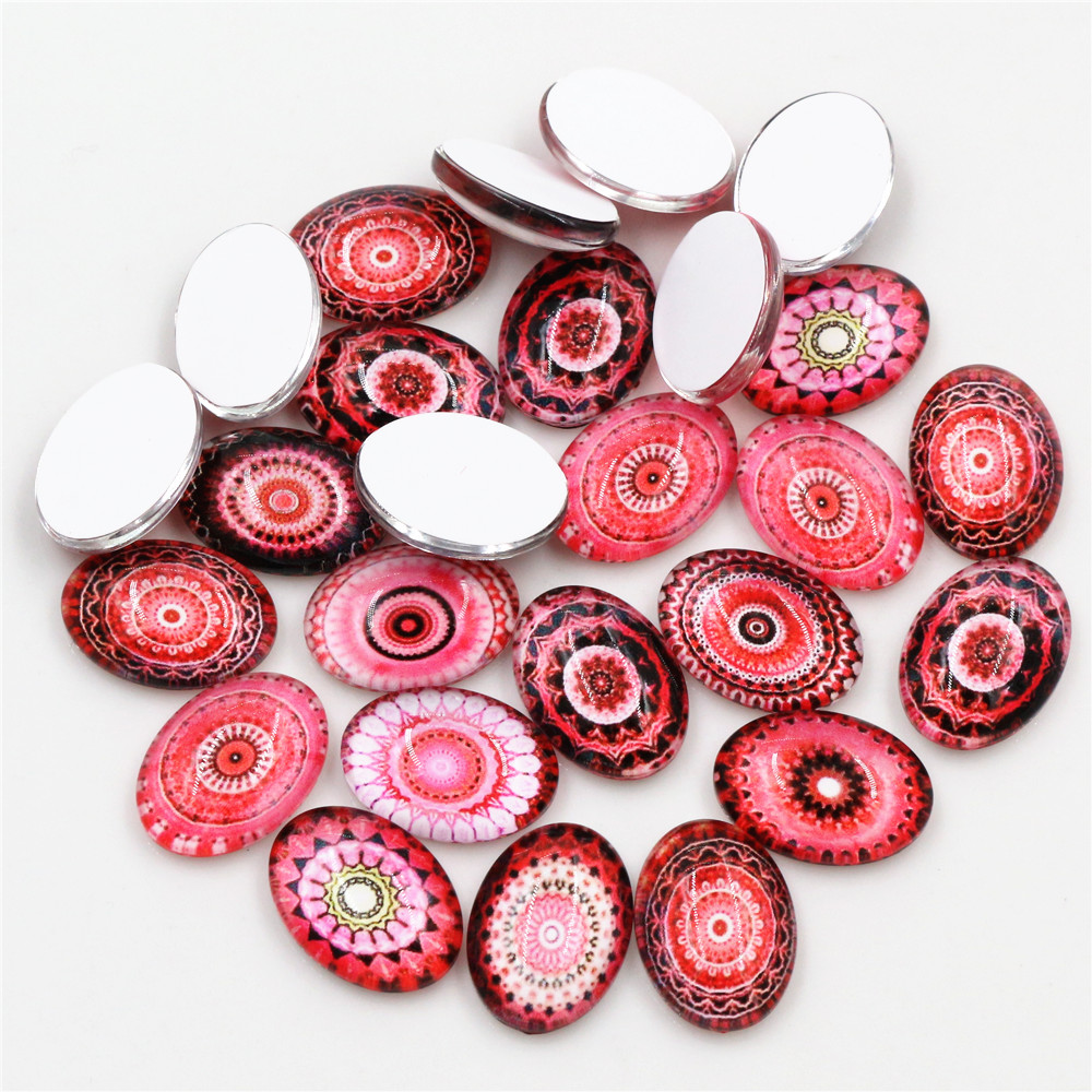 13x18mm  18x25mm New Fashion Mixed Handmade Photo Glass Cabochons Pattern Domed Jewelry Accessories Supplies