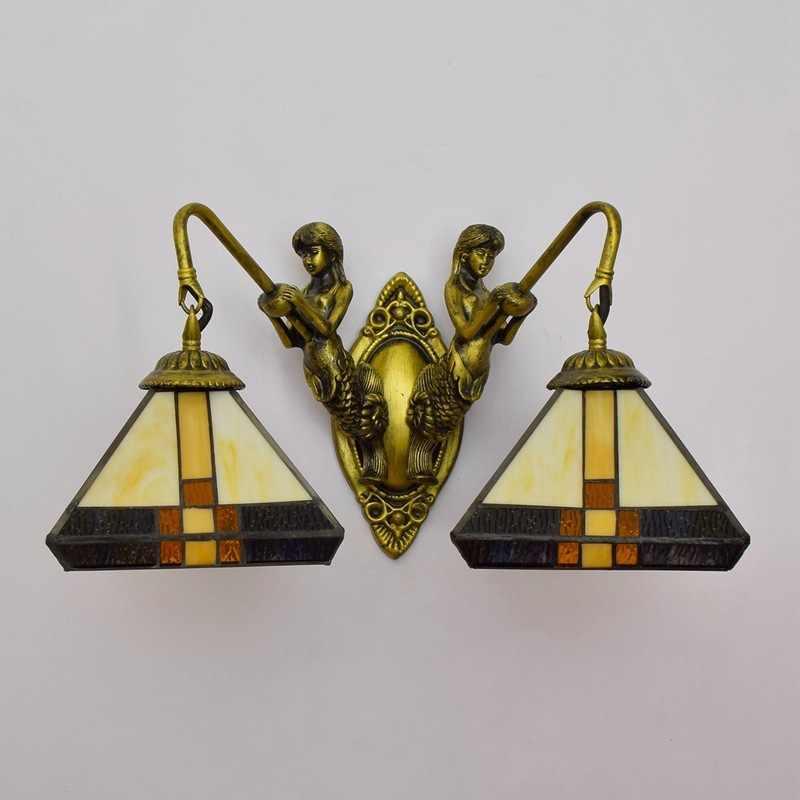 Gang Dubbele Kop Wandlamp Zuidoost-aziatische Stijl Tiffany Gekleurde Glas Woonkamer Eetkamer Gekleurde Glazen Lamp