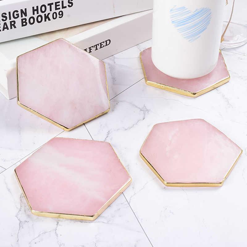 tapis de quartz rose avec bord dore 9 cm en forme hexagonale tranche pierre naturelle artisanat dessous de verre plaque decorative pour la
