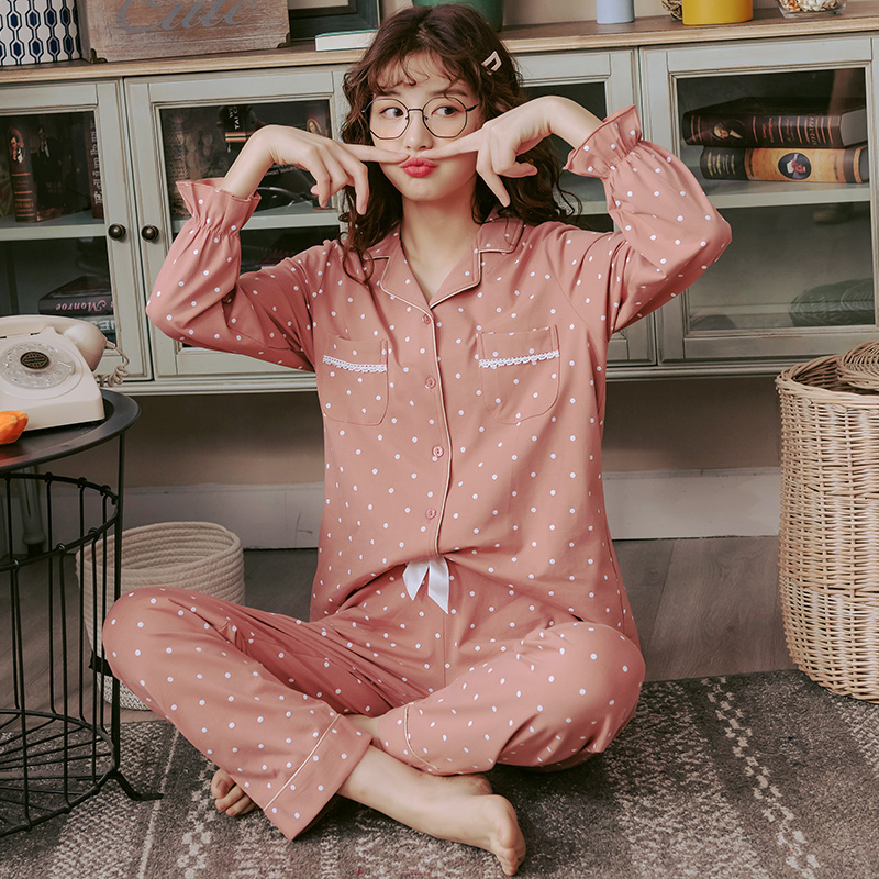 BZEL Pink Cute Pajamas Sets For Women Fashion Ladies Casual Home Wear Cotton Sleepwear Suit 2PCS Spring Autumn Pijama Pyjama 3XL