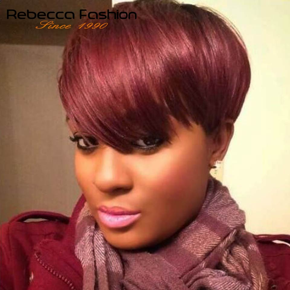 Rebecca Machine Made Short Straight Hair Wig Peruvian Remy Human Hair Wigs For Black Women Brown Red Mix Color Wig Free Shipping