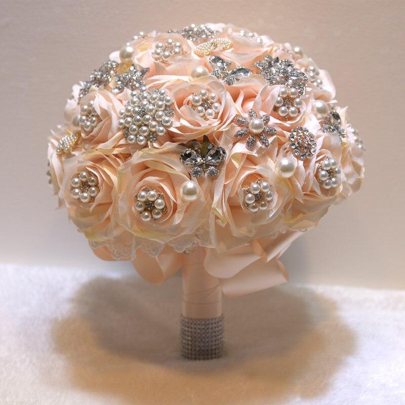 25 см для свадьбы искусственные цветы, шелковые стразы, цветы розы, растения, букет, украшение дома, роскошный подарок на день Святого Валенти... - 3