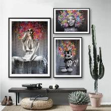 Abstrato retrato posters e impressões sexy africano preto menina graffiti quadros em tela quadros da arte parede para sala de estar decoração