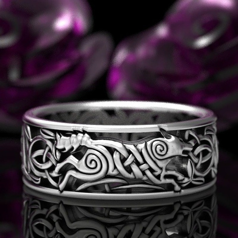New Celtic Werewolf Norway Nordic Viking Wolf Knots And Twines 925 Thai Silver Black VintageThai Silver Ring For Men And Women