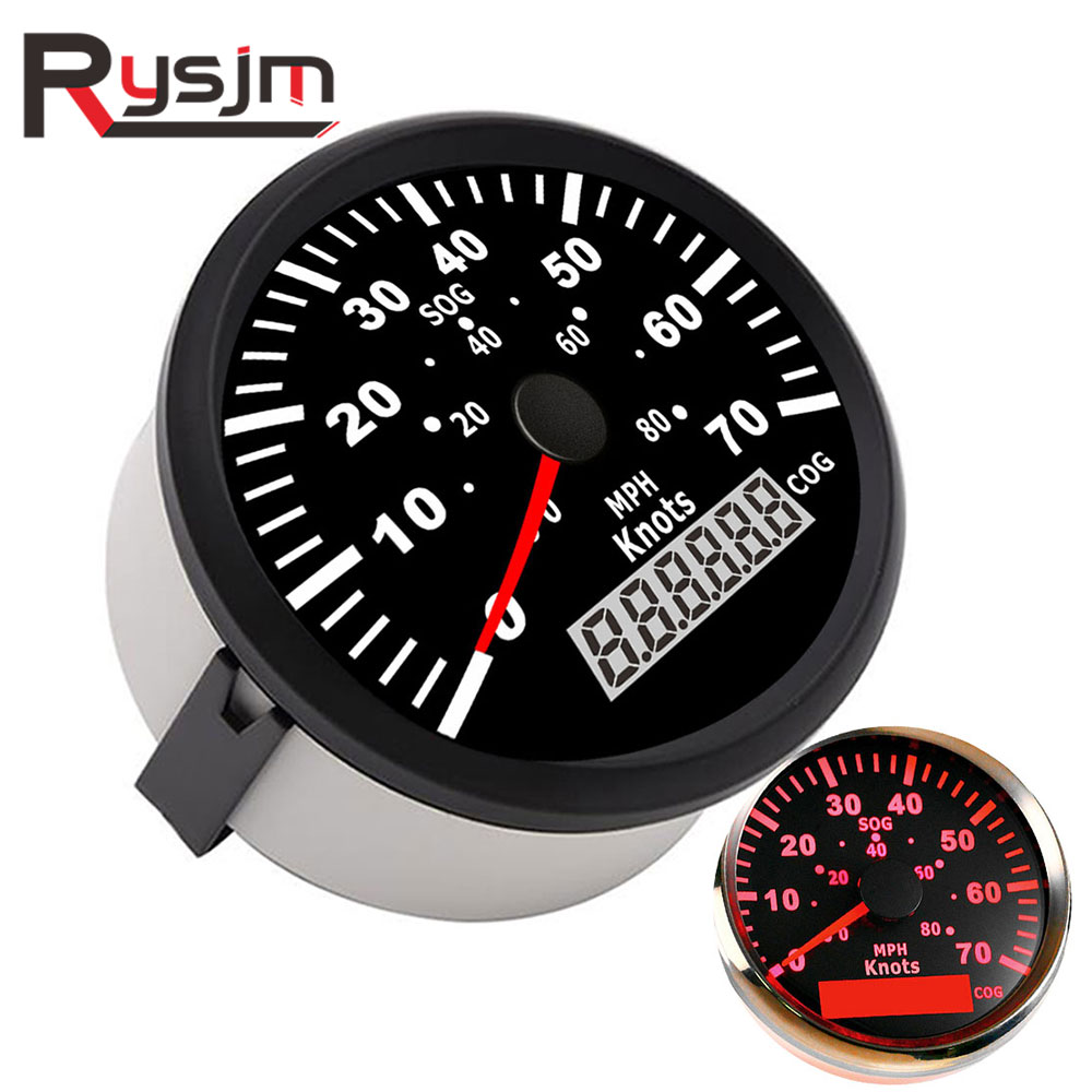 85mm universal GPS Speedometer Odometer 0-70Knots 0-80MPH For Boat Yacht Vessels With Red backlight instrument panel speed meter,