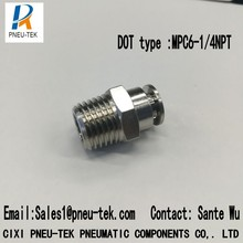 DOT type MPC1/4mm-BSPT1/4, латунные нажимные фитинги, пневматические фитинги, фитинги в одно касание, трубные фитинги нажимные в быстром соединении