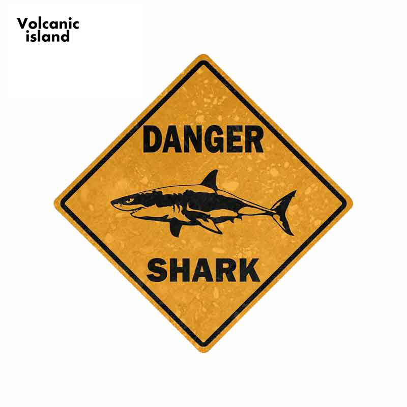 13cm x 13cm Car <font><b>Sticker</b></font> Decal Car <font><b>Bike</b></font> Motorcycle Danger Sign Shark Area Surf Bumper Decor image