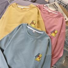 harajuku funny Cartoon embroidery t shirt autumn long Sleeve casual loose Tshirt korean ulzzang Women T-shirts stripe pink tops