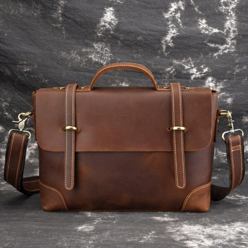Luufan Genuine Leather Shoulder Bag Briefcase Messenger Bag Top Layer Cowskin Crossbody Bag Men Women Fashion Crossobody Bag