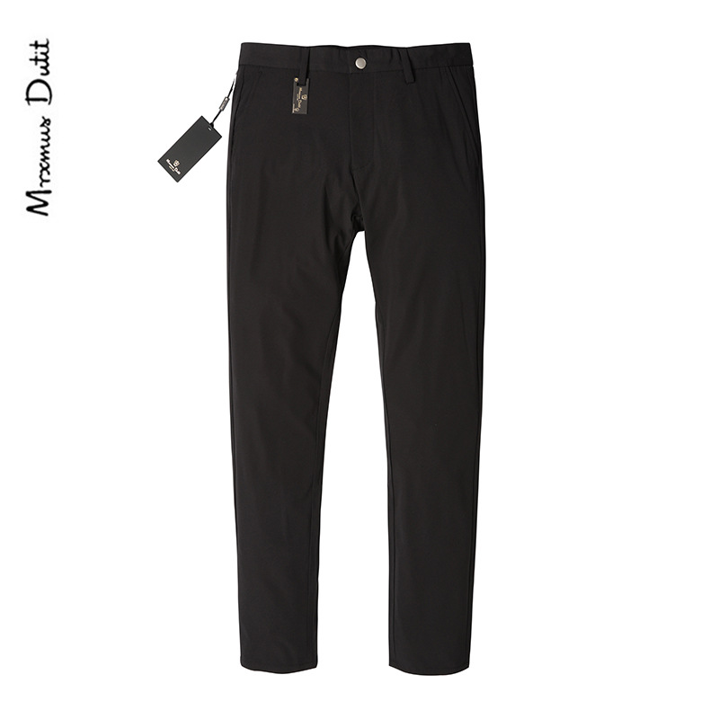 MD Men's Thin Straight-Cut Business Pants Composite materials Fiber Solid Color Bib Overall Middle-aged MEN'S Casual Pants MD 1