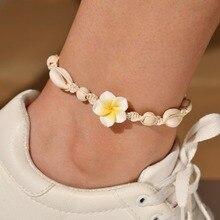 Hello Miss New Bohemian anklet beach handmade woven soft ceramic flower sea shell womens feet