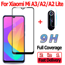 2 in 1 Screen Protector for Xiaomi Mi A3 A2 Lite Tempered Glass Camera Lens MiA3 Protective