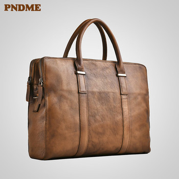 PNDME business genuine leather mens briefcase vintage casual designer high-quality luxury real cowhide laptop bag shoulder