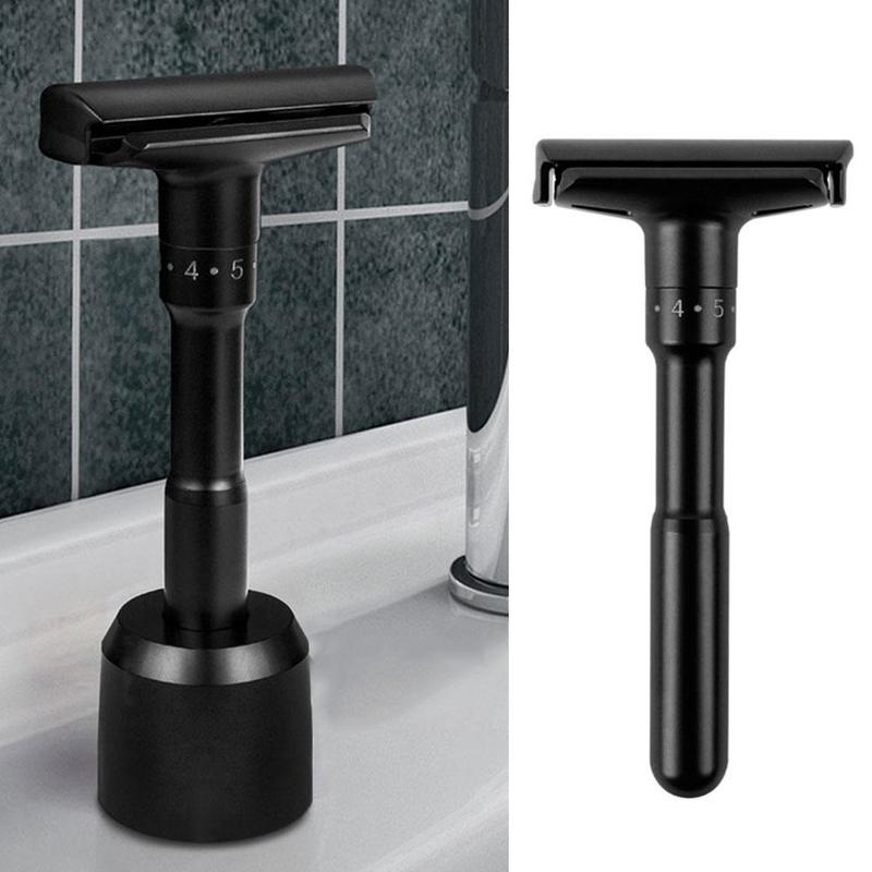 Luxurious Black Adjustable Safety Razor Can Design Name On It Classic Stand Safety Razor Men Shaving 5 Free Blades
