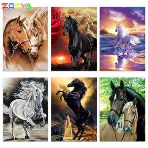 Image 1 - ZOOYA 5D DIY יהלומי רקמת חום זוג סוס יהלומי ציור צלב תפר מלא כיכר ריינסטון פסיפס קישוט BK274