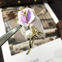 KingDeng Brooches Natural Pearl Rose Purple Gold Gifts Enamel Pins Laple Pins Exquisite Women Accessories Alloy Jewelry Luxury