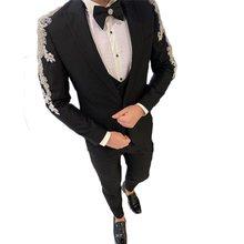Três peças ternos masculinos de luxo contas de cristal feitos sob encomenda ternos de casamento dois botões smoking peaked lapela blazer casaco de negócios + calça