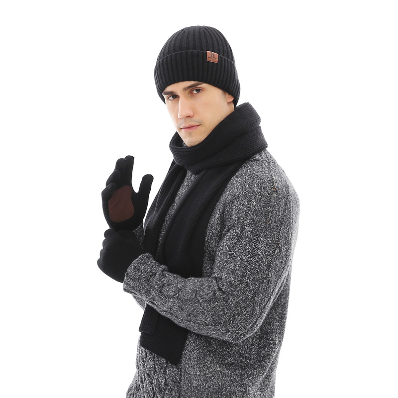 Hot Selling H Standard Accessories Men's Spring Men's Ribbed Pattern Flanging Hat Scarf Gloves 3pcs Set Gift