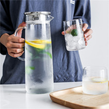 1500ml Glass Kettle Large Capacity Thick Glass Cold Water Pots With Lid Heat-Resistant Explosion-Proof Juice Pot Jug Kettles 780ml1200ml1800mllarge capacity thick glass cold water pots heat resistant explosion proof juice pot jug water jug kettles