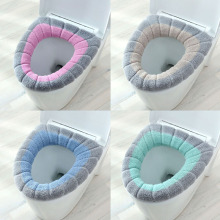1Pcs Double Color Toilet Seat Cover O-shape Bathroom Accessories Home Decor Keep Warm Mat Pumpkin Pattern Knitting Toilet Cover