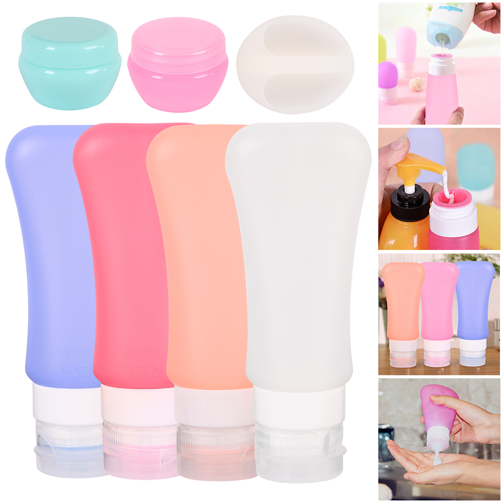 7pcs 89ML Portable Silicone Refillable Bottle Empty Travel Packing Press Liquid Packing Lotion Shampoo Container Cream Trip