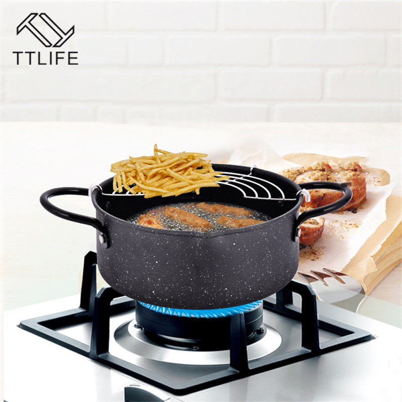 TTLIFE Black 20cm Tempura Deep Fryer Frying Pots With Basket Kitchen Utensils For Home Cooking Utensils For Outdoor Picnic
