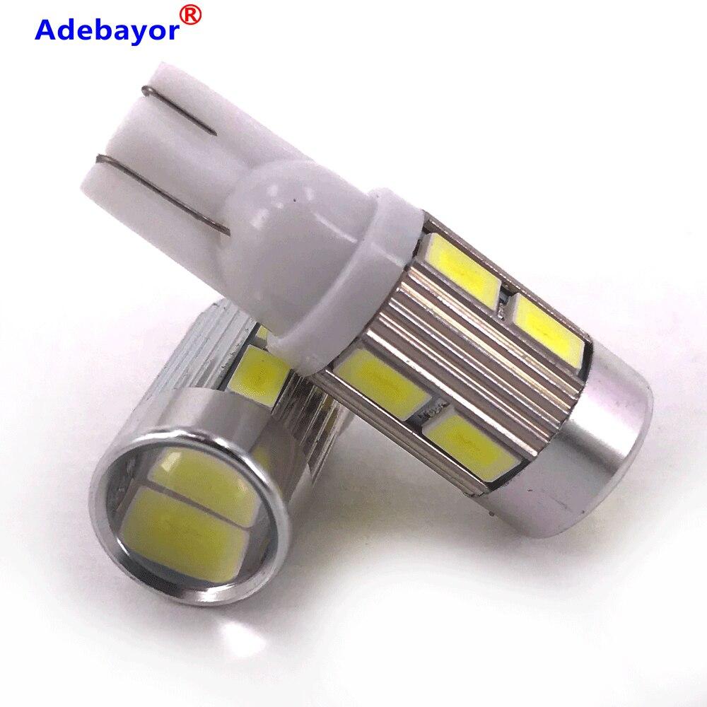 100PCS 12V T10 194 168 W5W 5630 10SMD White LED Light Bulbs Led Reading Lamps