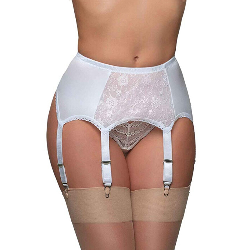 Female Plus Size Erotic Sexy Vintage High Waist Lace See-through 6 Straps Belt Garters Mesh Elastic Stocking Suspender