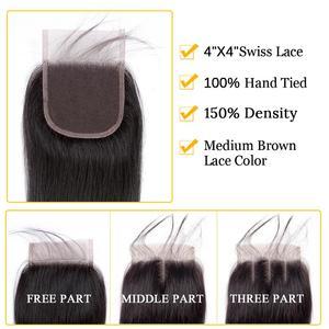 Image 5 - 32 30 дюймов прямые пряди волос с закрытием, натуральные кудрявые пучки волос пряди с фронтальным бразильским Реми 3 пряди с закрытием