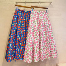 Sweet summer with elastic waist pleated skirt of tall waist skirts of strawberry print a word