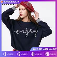 ONLY Womens Loose Fit 짧은 편지 인쇄 니트 스웨터 | 119124515(China)