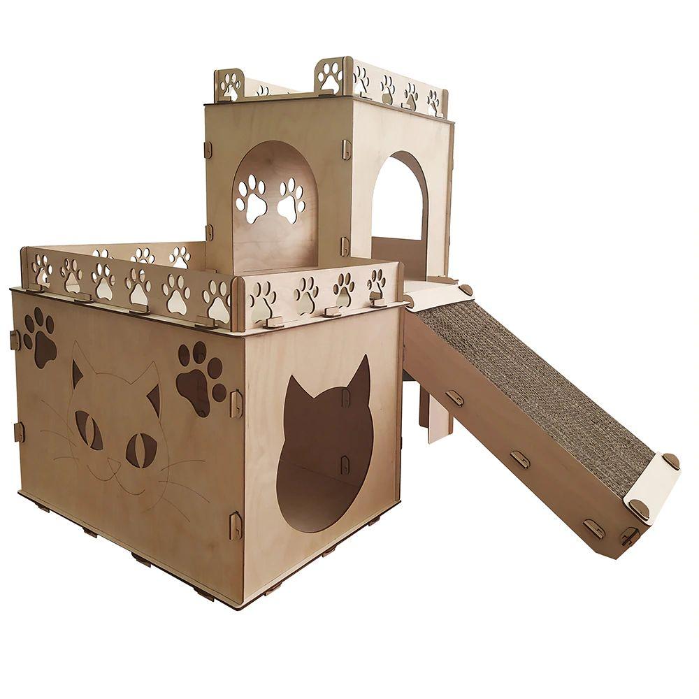 Деревянные Домик для Кошек с когтеточкой Разные размеры
