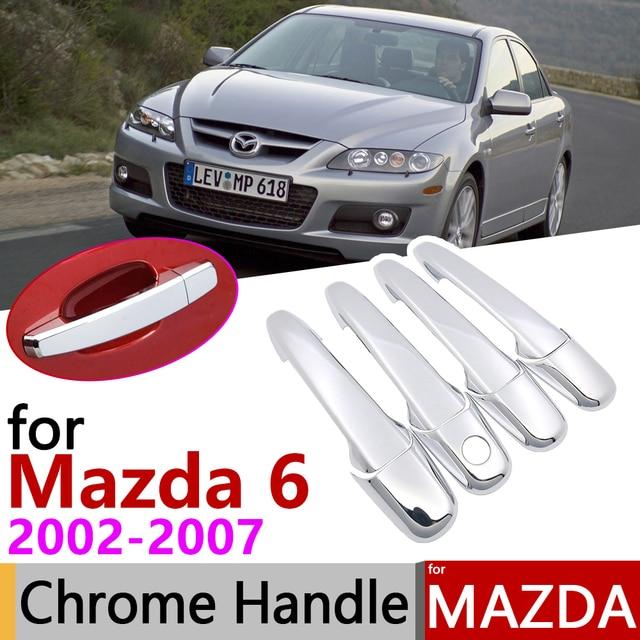 Autocollants de garniture de 4 portes | Pour Mazda 6 Mazda6 Atenza Wago 2002 ~ 2007, couvercle de poignée de porte chromé, accessoires de voiture, 2003 2004 2005 2006
