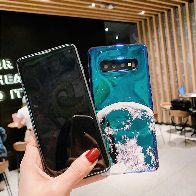 만화 전화 케이스 삼성 Note 10 Plus S7 Edge S8 S9 S10 Plus Note 8 9 10 커버 귀여운 마우스 귀 플래닛 Moon Silicone Coque