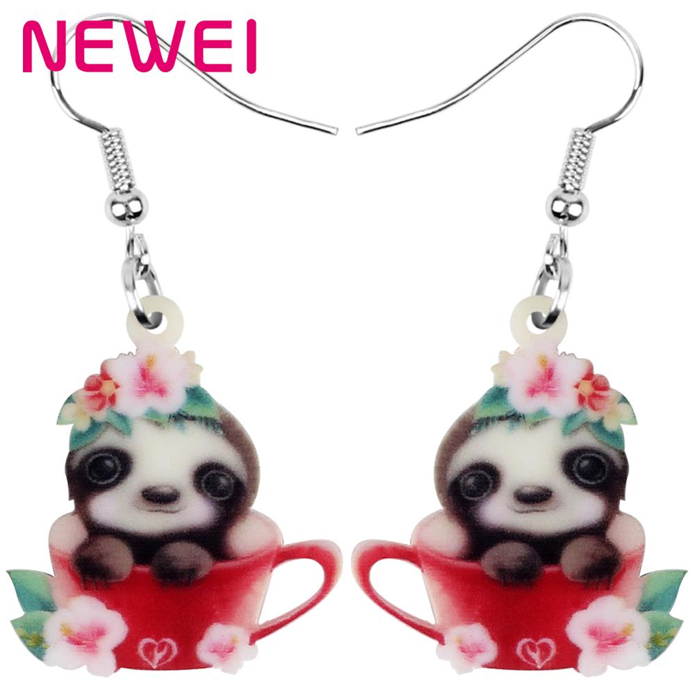 NEWEI Acrylic Anime Flower Cup South American Sloth Earrings Animal Drop Dangle Jewelry For Women Girl Teen Kids Charm Gift Bulk(China)