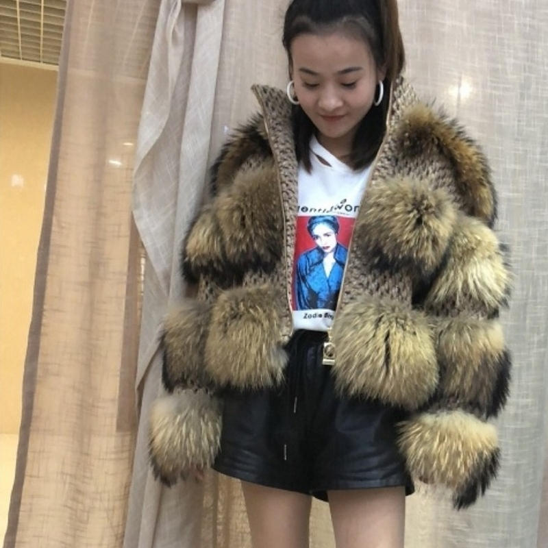 [explanation]: Raccoon Fur Top Luxury Laundry Women's Winter Thick Hot Shorts Real Upscale Natural Upscale Fur Raccoon Fur
