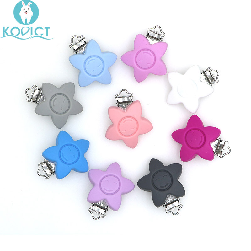 3Pcs Baby Pacifer Clips Smile Shape Perle Silicone Teether Clip DIY Baby Dummy Chain Nipple Holder Rodent Nursing Teething