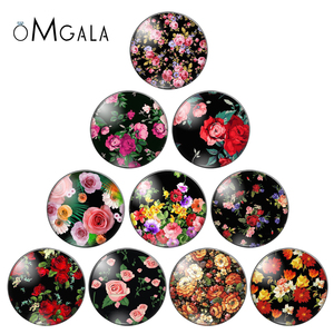 New vintage mix flower rose patternphoto flatback round glass cabochons 25mm 20mm 18mm 14mm 12mm 10mm diy jewerly findings