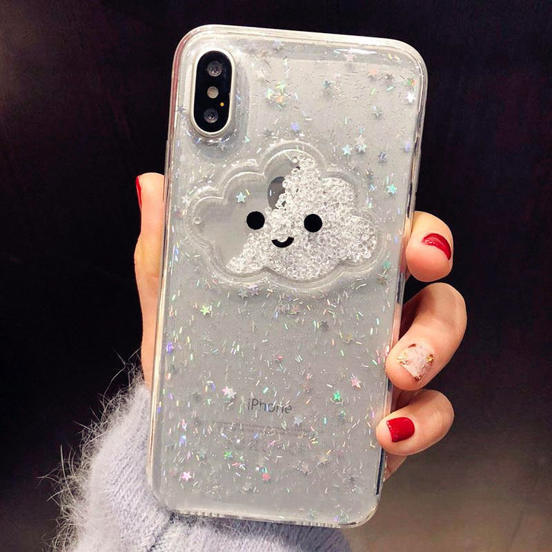 Liquid Heart Glitter Powder Smile Face Clouds Phone <font><b>Cases</b></font> For <font><b>iPhone</b></font> 11 Pro Max <font><b>X</b></font> XR <font><b>XS</b></font> Max 6S 7 8 Plus Soft Dynamic Back Cover image