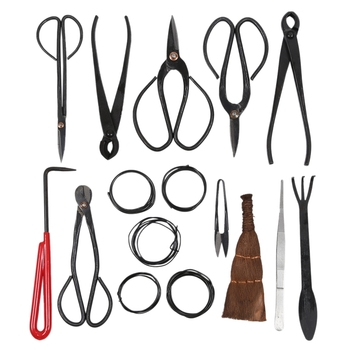 11 Pieces Bonsai Tools Set Black Multi-Function Bonsai Cutters Kit Durable Steel Shear Set and Tool Kit/Roll Wires