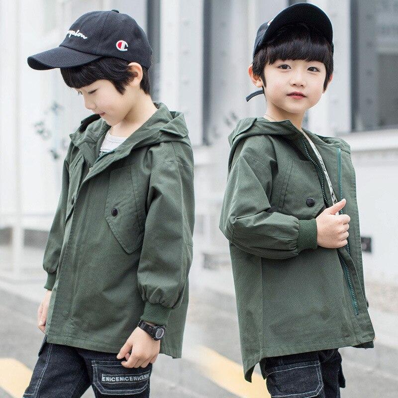 Детская верхняя одежда; плащ Тренч для подростков; пальто и куртки для мальчиков; ветрозащитная Детская куртка с капюшоном и надписью для мальчиков; ветровка