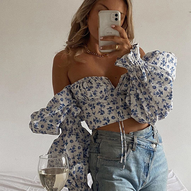 Cryptographic Blue Floral Print Tie Front Top and Blouses Shirts Square Collar Puff Sleeve Elegant Vintage Sexy Shirt Tops Chic