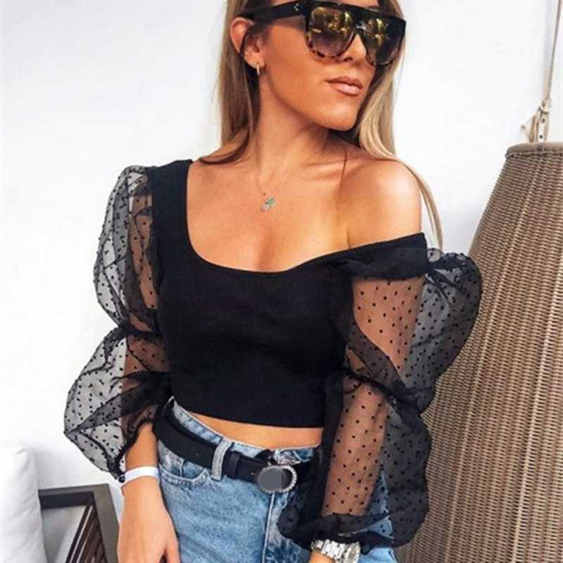 Sexy Frauen Spitze Sehen-durch Sheer Mesh Polka Dot Puff Lange Hülse O neck Crop Top Bluse Schlank Club tragen Tops Shirts