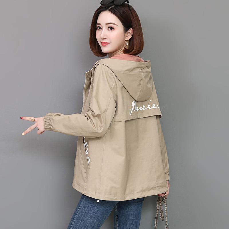 2020 Spring Autumn Women Jacket Fashion Hooded Windbreaker Female Long Sleeve Casual Jackets Loose Coat Outwear Plus Size 4XL