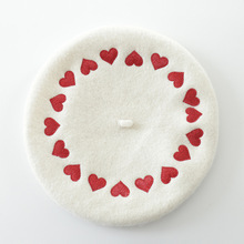 New love letter embroidery wool beret ladies fashion woolen hat winter
