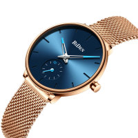 Luxury Watches Women Top Brand BIDEN Fashion Lady Quartz Wrist Watch 2019 Waterproof Rose Gold Ultra Thin Mesh Strap Blue Clock