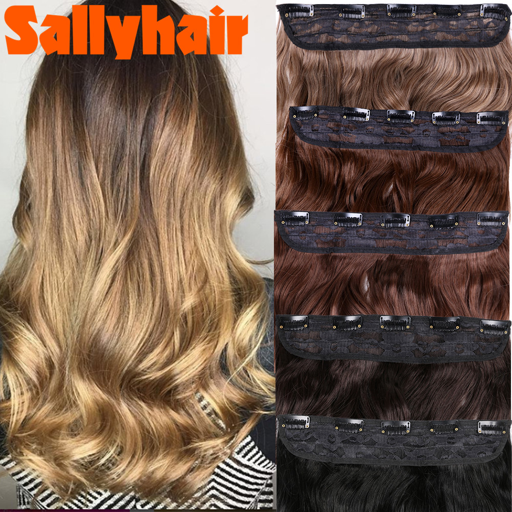 Sallyhair 5 Clips in Hairpiece Synthetic High Temperature Fiber Ombre Colors Hair Pieces Straight Hair Extensions